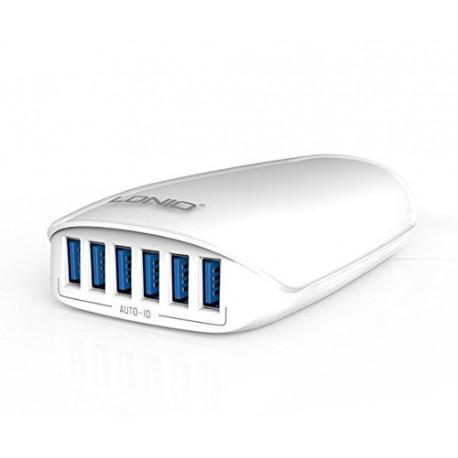 CARREGADOR USB 6 PORTAS 5.4A BRANCO