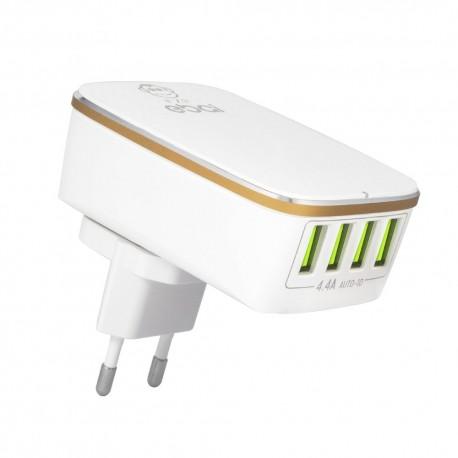 CARREGADOR USB 4-PORTAS 4.4A BRANCO