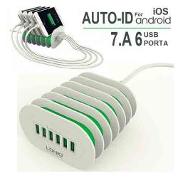 CARREGADOR SUPORTE USB 6 PORTAS 1.5M 7A