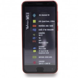 "SMARTPHONE W5 PLUS 5"" 2GB RAM/16GB 4G-DUAL SIM VERMELHO"