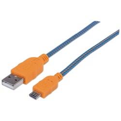 CABO USB 1MT TIPO-A PARA TIPO-B MICRO AZUL